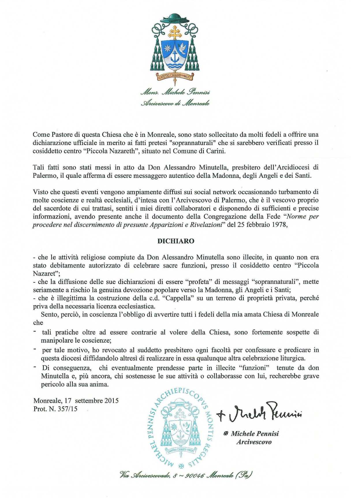 Dichiarazione circa don alessandro minutella arcidiocesi for Dichiarazione di missione adobe